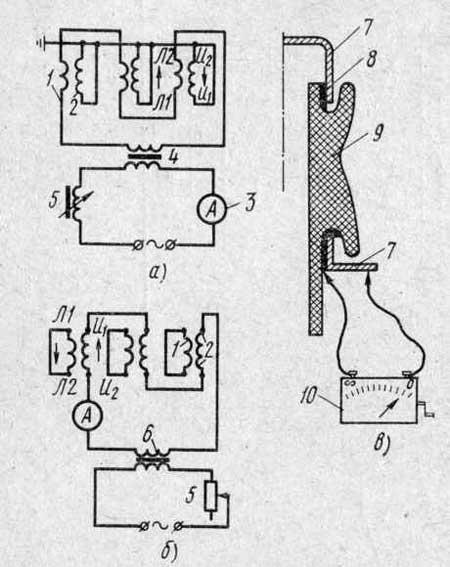 Сушка и проверка трансформаторов тока при ремонте. а и б - схемы включения обмотки трансформатора при сушке первичным...