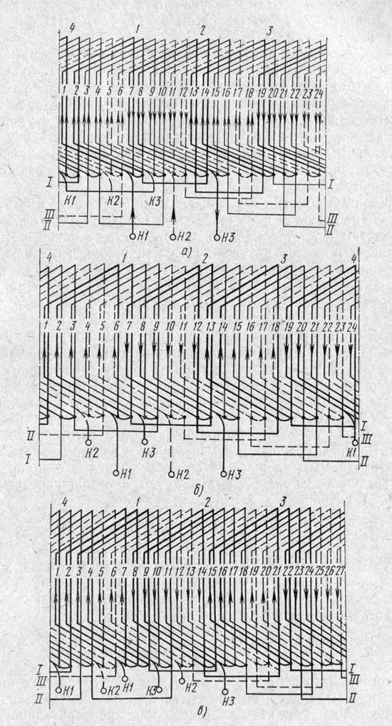 Схемы двухслойных статорных