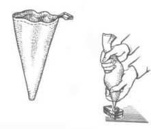 Использование мешочка из плотной ткани для отделки кремом тортов и пирожных