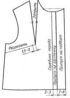 Нанесение фасонных линий блузки на чертеже переда