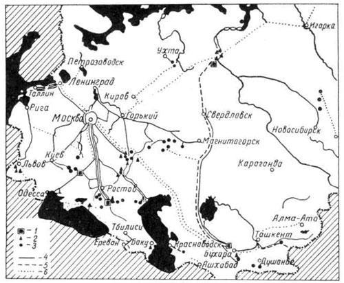 Карта размещения газопроводов и расположения месторождений газа