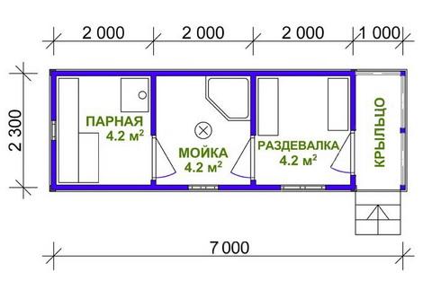 Мобильная баня из строганного бруса 2,3Х7