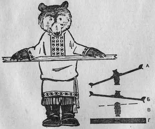 Качели с фигурой раскачивающегося медвежонка