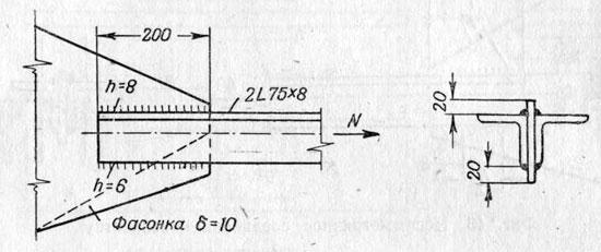 Расчет прикрепления двух углов к фасонке