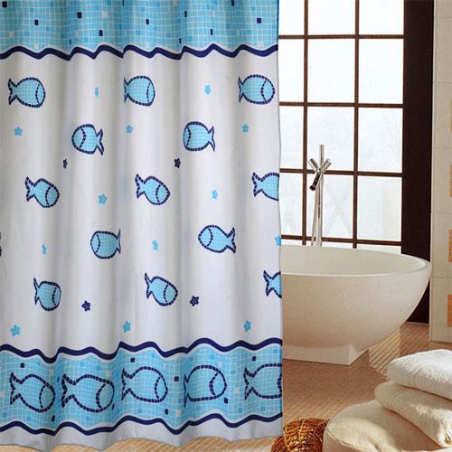 Полиэстровые текстильные шторы для ванной