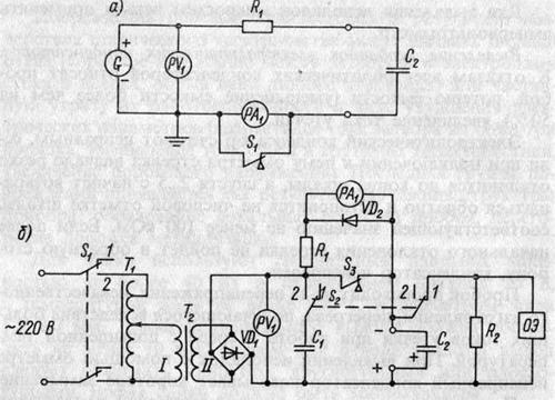 Электрические схемы металлопленочных и электролитических конденсаторов
