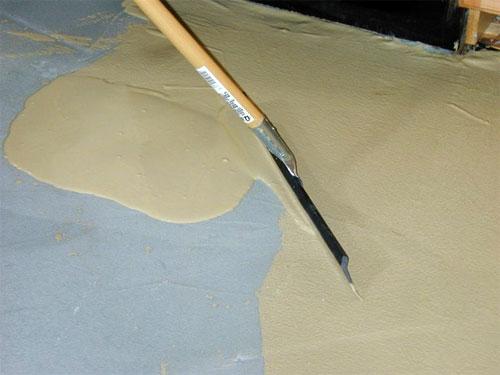 Нанесение первого слоя тонкослойного покрытия