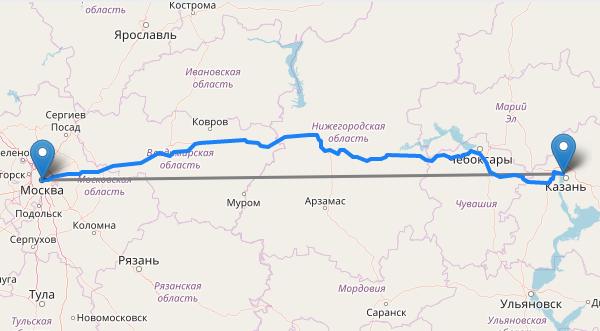 Расстояние между городами
